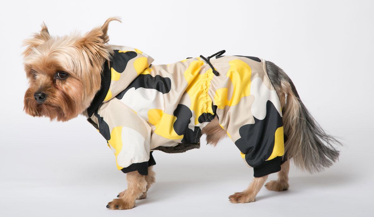 """Комбинезон для собак Yoriki """"Камуфляж"""", унисекс, цвет: желтый. Размер L"""
