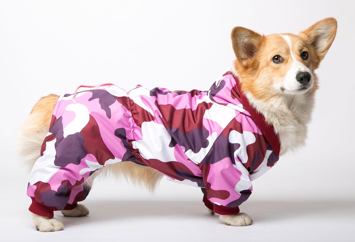 """Комбинезон для собак Yoriki """"Камуфляж"""", унисекс, цвет: фиолетовый. Размер M"""