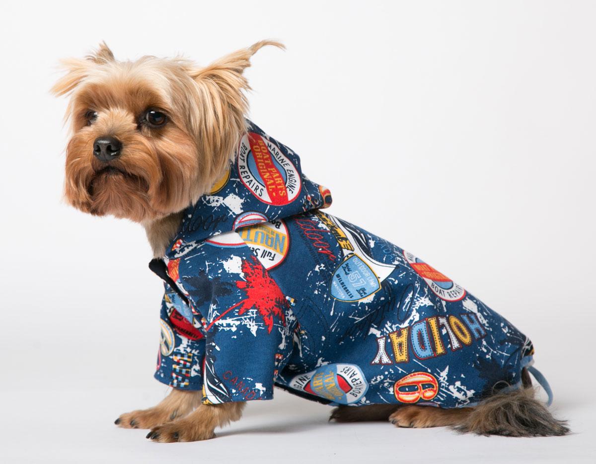 Толстовка для собак Yoriki Холидей, унисекс, цвет: синий. Размер L345-03Толстовка Yoriki Холидей - это практичная и стильная защита любимого питомца в прохладную погоду весной и осенью, вечерним летним днем или ранним утром. Такая одежда - это незаменимый вариант гардероба любой собаки во время прогулок в ветреную погоду. Верх толстовки выполнен из хлопка. Подкладка изготовлена из мягкой вискозы. Застегивается толстовка на животе на кнопки и дополнительно затягивается шнурком. Благодаря такой толстовке вашему питомцу будет комфортно наслаждаться прогулкой.Обхват шеи: 27-31 см.Длина по спинке: 29 см.Объем груди: 41-47 см.Одежда для собак: нужна ли она и как её выбрать. Статья OZON Гид