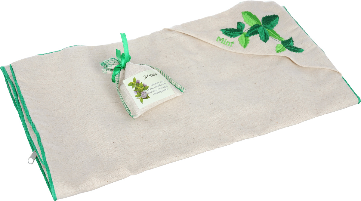 Наволочка Smart Textile Традиция здоровья. Мята, с вышивкой, с мешочком ароматравы, 40 х 60 смЕ907Наволочка Smart Textile Традиция здоровья. Мята идеально подходит для подарка. Она имеет красивое подарочное и в то же время спокойное оформление. Наволочка выполнена из 100% льна и имеет оригинальную вышивку, окантована декоративным шнурком и застегивается на аккуратную молнию-застежку. Еще одно важное преимущество наволочки - мята в миниатюрном льняном мешочке на атласной завязке-ленте. Этот мешочек при желании владельца вкладывается в специальный кармашек на наволочке. Тонкий аромат принесет нотки природы в спальню. Такой аромат был выбран не случайно. Во сне мы проводим значительную часть нашей жизни и именно от качества сна будет зависеть наше самочувствие и продуктивность нового дня. Поэтому особенно важно выбрать для себя постельные принадлежности, чтобы они были не только удобными, но и полезными.Мята - богата ментолом (содержится в листьях растения), который помогает снять усталость, головную боль, тонизирует кровообращение, обладает антисептическими свойствами, благотворно влияет на иммунную систему, снижая риск простудных и вирусных заболеваний.