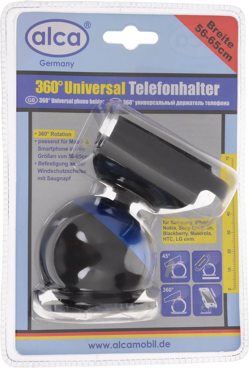 Держатель для телефона Alca, на присоске, цвет: черный, синий528000_синийУниверсальный держатель Alca с боковыми зажимами подходит для большинства мобильных телефонов/КПК/GPS/MP4.Спецификация:Основание крепится к любой гладкой поверхности (лобовое стекло, приборная панель, средняя консоль) посредством вакуумной присоски.Держатель можно поворачивать в любом нужном направлении на 360° при угле наклона 45°.Зажимы позволяют надежно и быстро закрепить портативное устройство.Держатель подходит для портативных устройств от 56 до 65 мм.Диаметр присоски: 6 см.