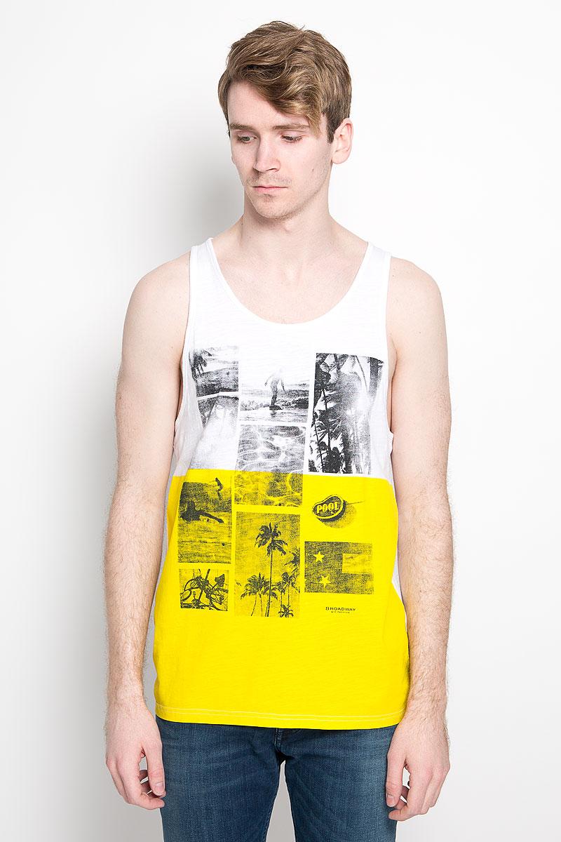 Майка мужская Broadway Singlet Franco, цвет: белый, желтый. 20100186 00C. Размер XL (52)
