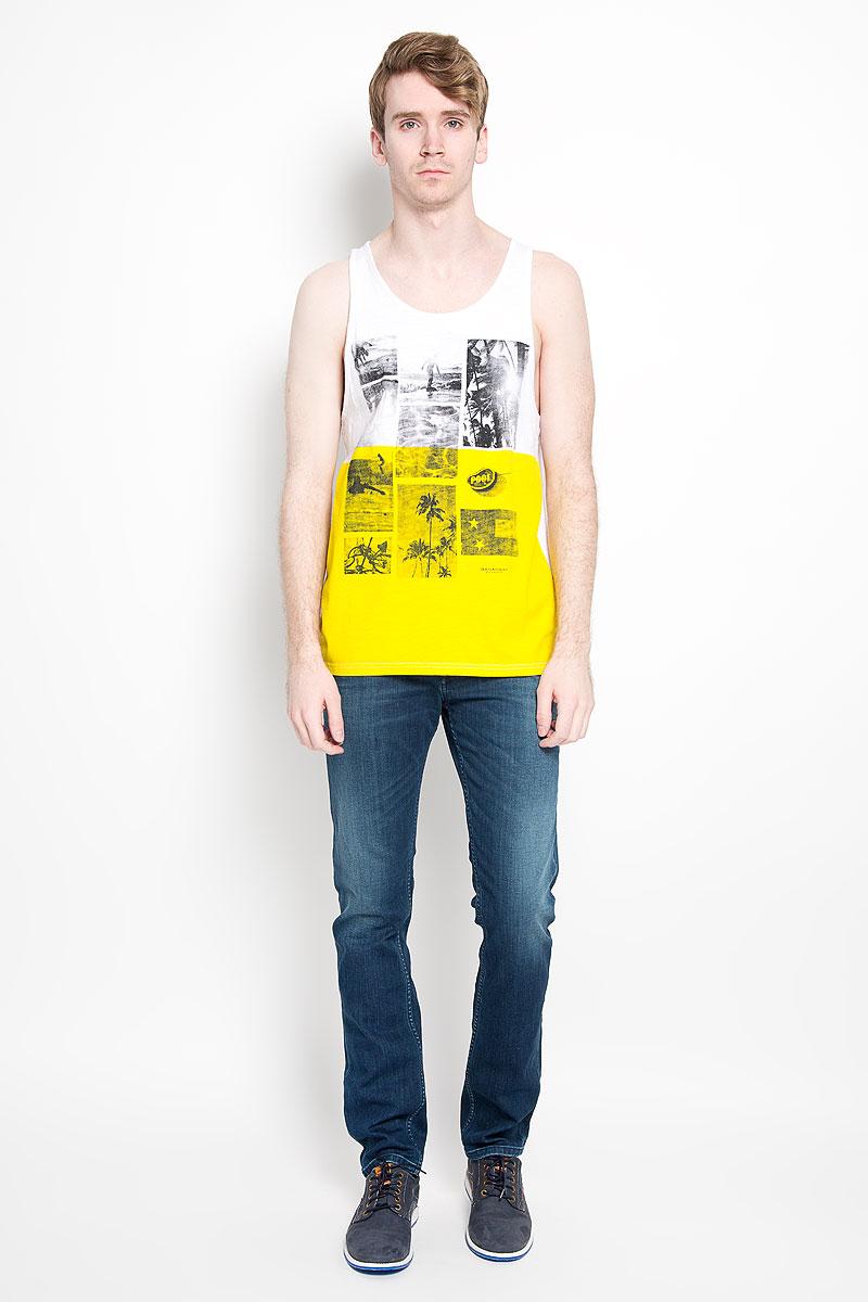 Майка мужская Broadway Singlet Franco, цвет: белый, желтый. 20100186 00C. Размер XXL (54) куртка мужская broadway noam цвет черный 20100303 размер xxl 54