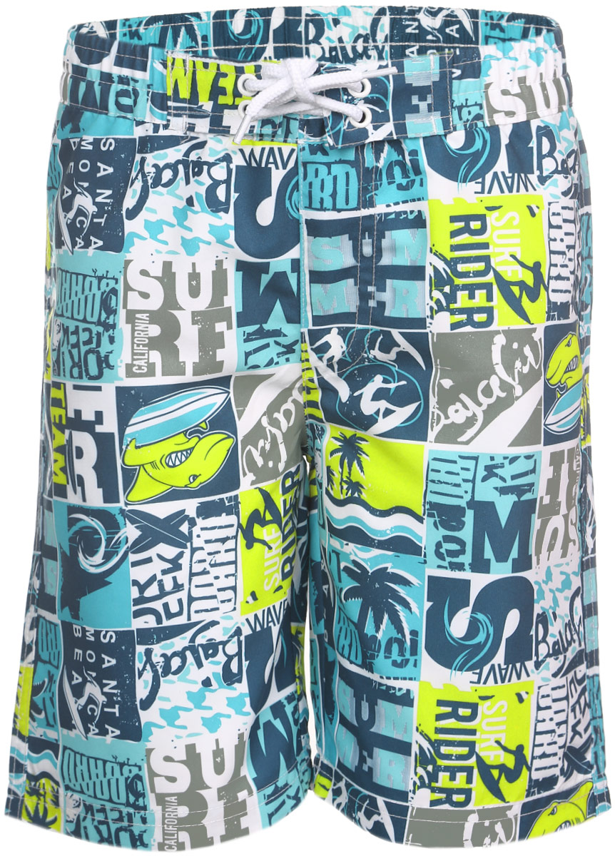 Шорты для плавания для мальчика PlayToday, цвет: белый, бирюзовый, салатовый. 161171. Размер 98, 3 года161171Мягкие шорты для плавания PlayToday изготовлены из быстросохнущего материала. Сетчатая несъемная вставка в виде трусов-слипов обеспечивает удобство и комфорт. Модель дополнена широкой эластичной резинкой на талии, украшенной декоративной шнуровкой.Имеется имитация ширинки. Шорты оформлены принтом на морскую тематику и принтовыми надписями.Яркие шорты станут отличным дополнением к гардеробу юного модника. В них ребенок всегда будет чувствовать себя уютно и комфортно.