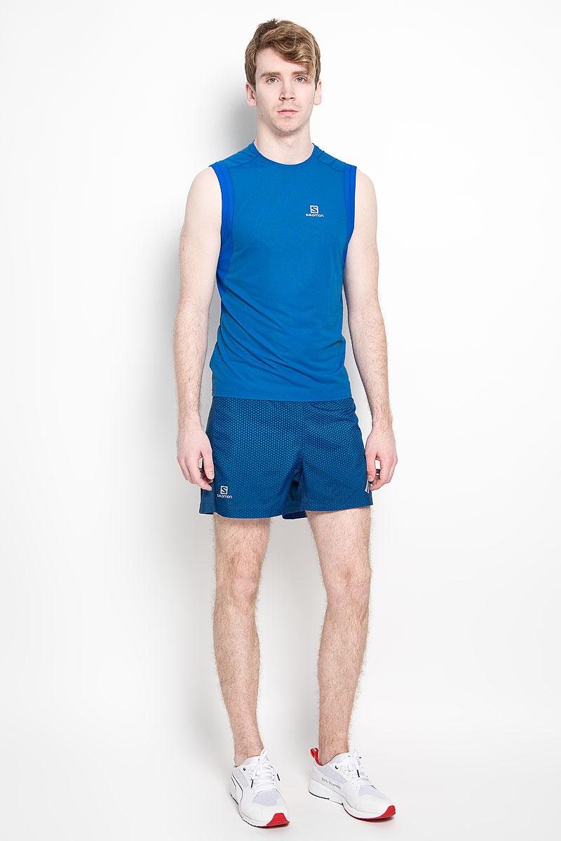Шорты для бега мужские Salomon Agile, цвет: синий. L37952800. Размер L (52/54)L37952800Мужские шорты для бега Salomon Agile, изготовленные из 100% полиэстера, необычайно мягкие и приятные на ощупь, не сковывают движения, не раздражают даже самую нежную и чувствительную кожу, обеспечивая наибольший комфорт. Трехуровневая структура материала AdvancedSkin ActiveDry правильно распределяет циркуляцию воздуха и следит за температурным режимом, таким образом материал хорошо облегает тело и не прилипает к коже. Шорты на талии имеют широкую эластичную резинку, регулируемую скрытым шнурком. Сзади под поясом находится прорезной карман на молнии. Модель дополнена дышащими вставками из микросетки. Вшитая вставка в виде трусов-слипов обеспечивает удобство и комфорт. Изделие оформлено принтом в горох и светоотражающими элементами в виде символики бренда.Такие шорты идеально подойдут для бега.