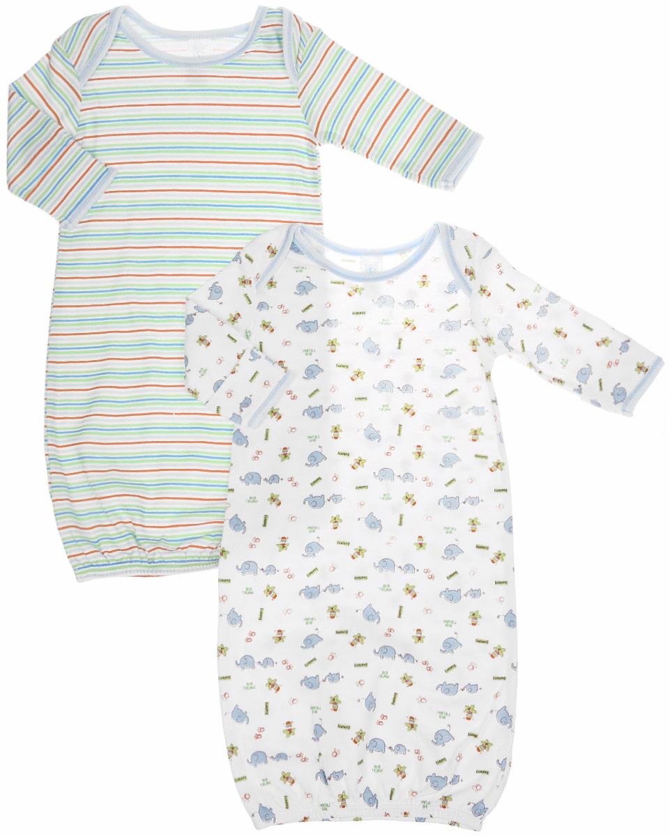 Ночная сорочка для мальчика Spasilk, цвет: белый, голубой, зеленый, 2 шт. GO A7P. Размер S, 0-3 месяца ночные сорочки linse ночная сорочка