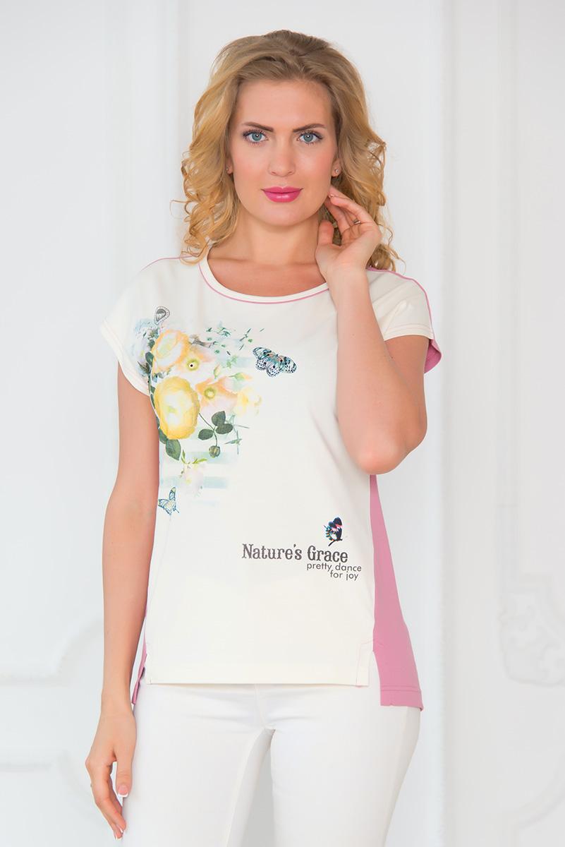 Футболка женская BeGood, цвет: молочный, темно-розовый. SS16-BGUZ-550. Размер 5XL (58)SS16-BGUZ-550Женская футболка BeGood выполнена из хлопка с добавлением эластана. Модель с круглым вырезом горловины и короткими рукавами-кимоно оформлена цветочным принтом и надписями на английском языке. Спинка модели немного удлинена, а в боковых швах обработаны небольшие разрезы.