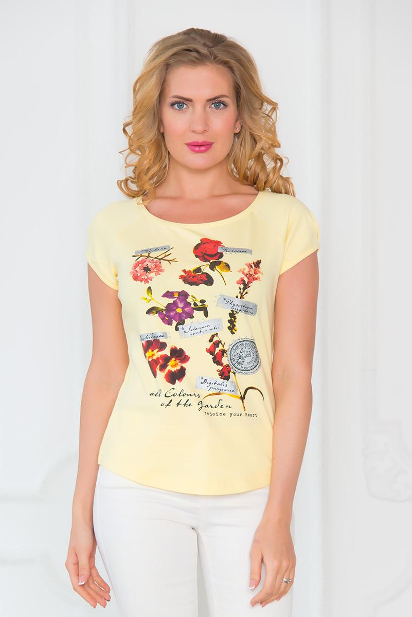 Футболка женская BeGood, цвет: бледно-желтый. SS16-BGUZ-537. Размер S (44)SS16-BGUZ-537Женская футболка BeGood выполнена из хлопка с добавлением эластана. Модель с круглым вырезом горловины и короткими рукавами-реглан. Футболка оформлена цветочным принтом и надписями на английском языке.