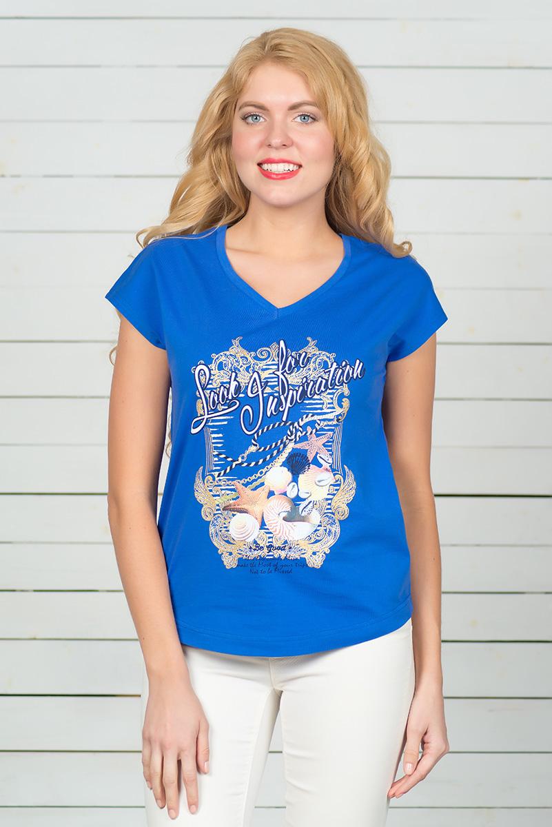 Футболка женская BeGood, цвет: синий. SS16-BGUZ-513. Размер 46SS16-BGUZ-513Стильная женская футболка BeGood, выполненная из эластичного хлопка, обладает высокой теплопроводностью, воздухопроницаемостью и гигроскопичностью, позволяет коже дышать. Модель с короткими цельнокроеными рукавами и V-образным вырезом горловины - идеальный вариант для создания стильного современного образа. Футболка оформлена ярким принтом. По низу модель имеет закругленную форму.