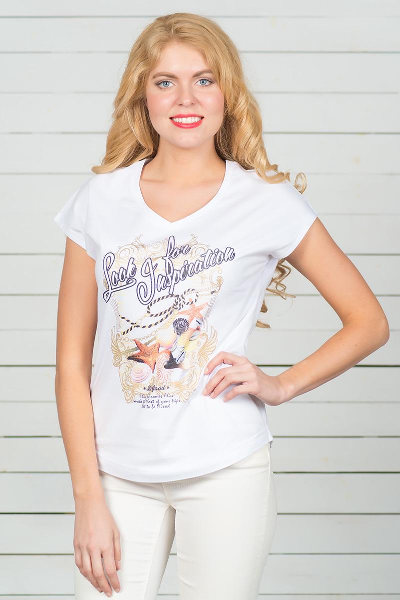 Футболка женская BeGood, цвет: белый. SS16-BGUZ-513. Размер 52SS16-BGUZ-513Стильная женская футболка BeGood, выполненная из эластичного хлопка, обладает высокой теплопроводностью, воздухопроницаемостью и гигроскопичностью, позволяет коже дышать. Модель с короткими цельнокроеными рукавами и V-образным вырезом горловины - идеальный вариант для создания стильного современного образа. Футболка оформлена ярким принтом. По низу модель имеет закругленную форму.