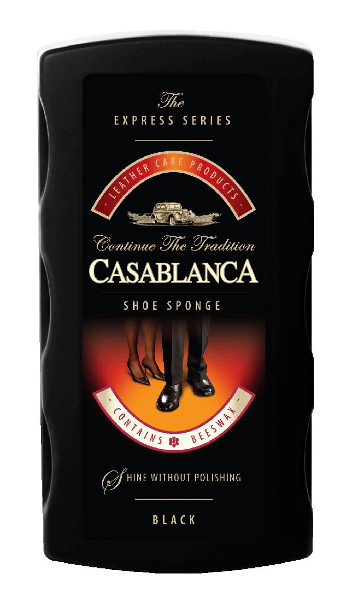 Губка для обуви Casablanca, цвет: черный. 11041104Губка для обуви Casablanca - универсальное средство для чистки обуви, обладает точечной дозацией и долгосрочным сроком хранения. Комбинированный состав, наносится на поролон с помощью точечной дотации. Это позволяет ввести состав в глубину поролоновой губки и тем самым дольше сохранить его от испарения. Губки обогащены пчелиным воском для придания идеального блеска вашей обуви.
