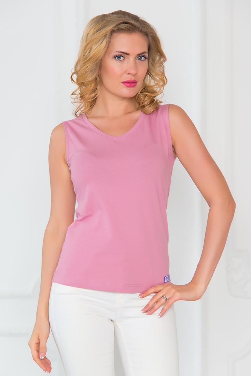 Майка женская BeGood, цвет: розовый. SS16-BGUZ-535. Размер 48SS16-BGUZ-535Женская майка BeGood с V-образным вырезом горловины, выполненная из эластичного хлопка, обладает высокой теплопроводностью, воздухопроницаемостью и великолепно отводит влагу от тела. Модель украшена спереди нашивкой с названием бренда.