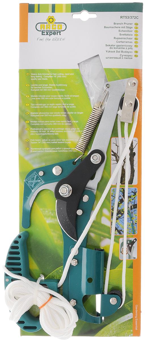"""Сучкорез штанговый """"Raco"""" предназначен для формирования кроны  деревьев.Ножовочное полотно (350 мм) изготовлено из высокоуглеродистой  стали и имеет остро заточенные и закаленные зубья. Это обеспечивает быстрый  рез и продолжительный срок службы. Широкое расхождение лезвий используется  для удобной резки веток толщиной до 32 мм. Сучкорез может быть подвешен на  ветку для удобства работы. Покрытие Raco-Hitekflon обеспечивает защиту от  ржавчины, а также ровный и аккуратный рез. Прочный 3-метровый нейлоновый  шнур с регулируемой рукояткой. Может крепиться на телескопическую рукоятку  (приобретается отдельно) для обрезания веток на высоте до 5 метров."""