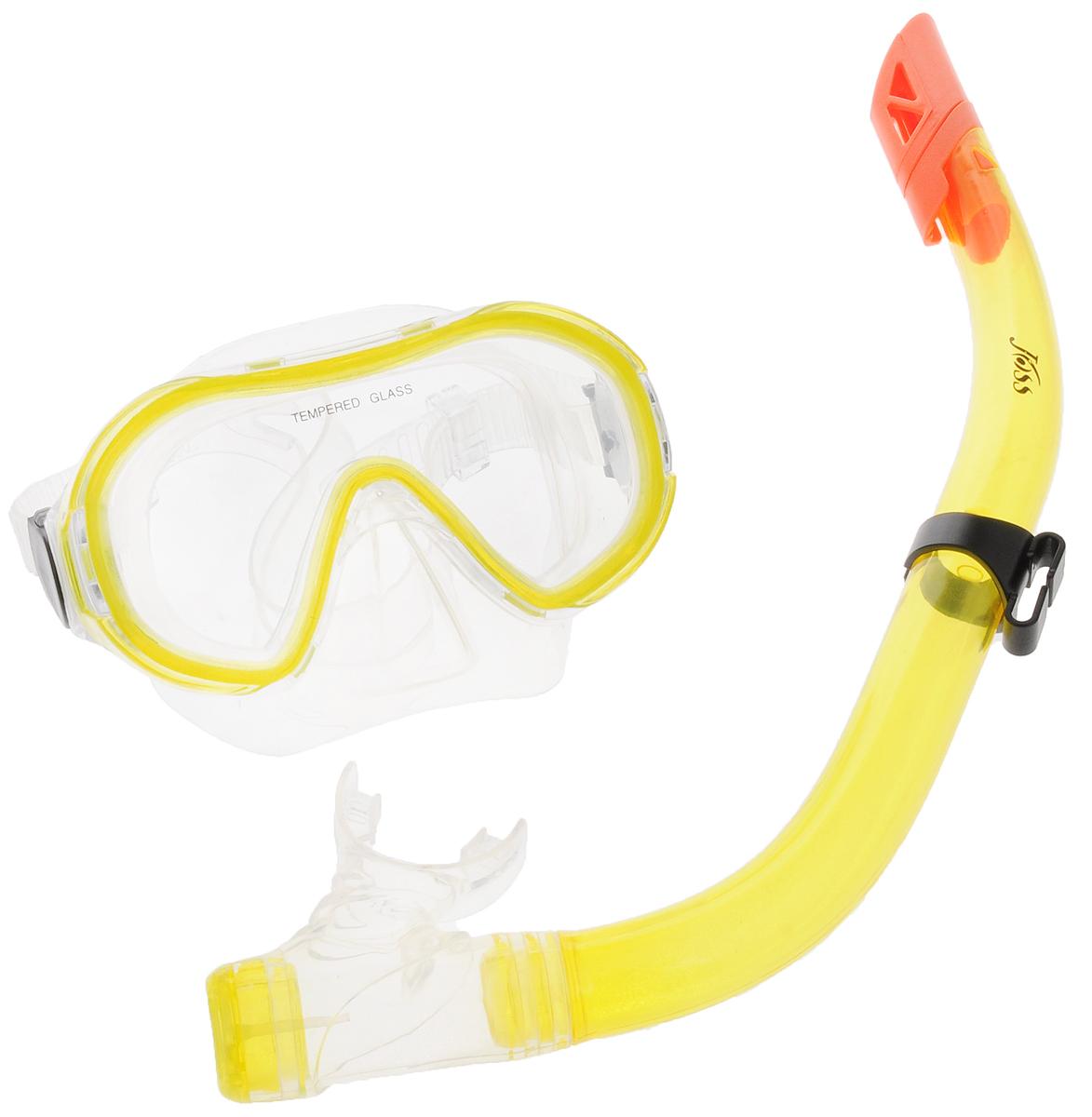 Набор для подводного плавания Joss, детский, цвет: прозрачный, желтый, оранжевый, 2 предметаM9620S-34Набор для подводного плавания и сноркелинга Joss состоит из маски и трубки. Маска с маленьким подмасочным объемом, выполненная из пластика и силикона, надежно фиксируется регулируемым ремешком с пряжками и обеспечивает хороший обзор. Линзы изготовлены из закаленного стекла. Гидродинамическая конструкция трубки позволяет легко дышать под водой. Трубка оснащена клапаном для легкого и быстрого освобождения от воды. Волноотбойник предназначен для защиты трубки от попадания воды через край.Набор для плавания Joss станет прекрасным дополнением к ластам.
