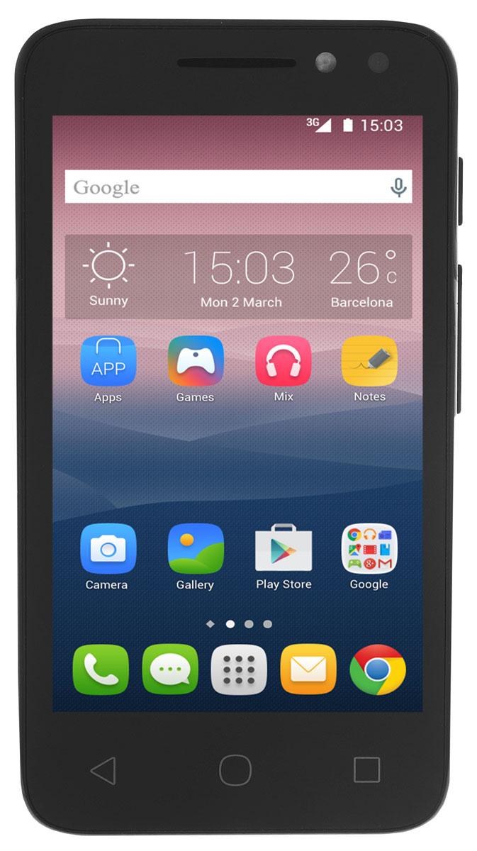 Alcatel OT-4034D Pixi 4 (4.0), Black4034D-2AALRU1Смартфон Alcatel OT-4034D Pixi 4 (4.0) имеет сенсорный ЖК-экран с диагональю 4 и разрешением 480х800 точек. Смартфон оснащен встроенным видео- и аудиоплеером и FM радиоприемником с функцией RDS. Также Alcatel OT-4034D Pixi 4 оборудован камерой с разрешением 3 Мпикс, которая позволяет делать фотоснимки и видеозаписи. С помощью встроенных модулей Bluetooth и Wi-Fi вы можете передавать информацию (изображения, видео- и аудиофайлы) по беспроводному соединению.Телефон сертифицирован EAC и имеет русифицированный интерфейс меню и Руководство пользователя.
