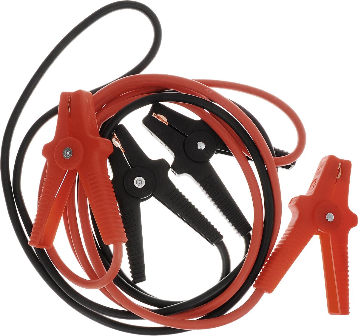 Старт-кабель Alca, CCA 400 А, длина 3 м404410Старт-кабель Alca выполнены из алюминия с медным покрытием. Зажимы полностью изолированы. Руководство по эксплуатации: Присоединение.Кабель с красными зажимами присоединить к плюсовой клемме разряженного аккумулятора, затем присоединить к плюсовой клемме аккумулятора, от которого производится пуск. Кабель с черными зажимами подключить к минусовой клемме аккумулятора, от которой производится пуск и к массе автомобиля с разряженной батареей, например к кабелю массы либо к не изолированной точке моторного блока, причем на максимальном удалении от аккумулятора, которым производится пуск для избежания возможного возгорания образующегося разрядного газа.Пуск.После присоединения проводов стартер-кабеля запустить двигатель автомобиля, от которого производится пуск, и установить средние обороты. Запустить двигатель автомобиля с разряженным аккумулятором. После каждой попытки запуска двигателя, длительность которого не должна превышать 15 секунд, необходима пауза около 1 минуты. После успешного запуска двигателя продолжить 2-3 минуты до устойчивой работы.Отсоединение:Отсоединение производиться в обратном от присоединения порядке. Сначала отсоединяется черный зажим от кабеля массы либо моторного блока автомобиля с разряженным аккумулятором. Затем отключить оба красных зажимав произвольном порядке. При отсоединении проводов стартер-кабеля обращать внимание на исключение контакта стартер-кабеля с возвращающимся частями двигателя.Выдерживает температуру от +150°С до -50°С.В комплект входит сумка.