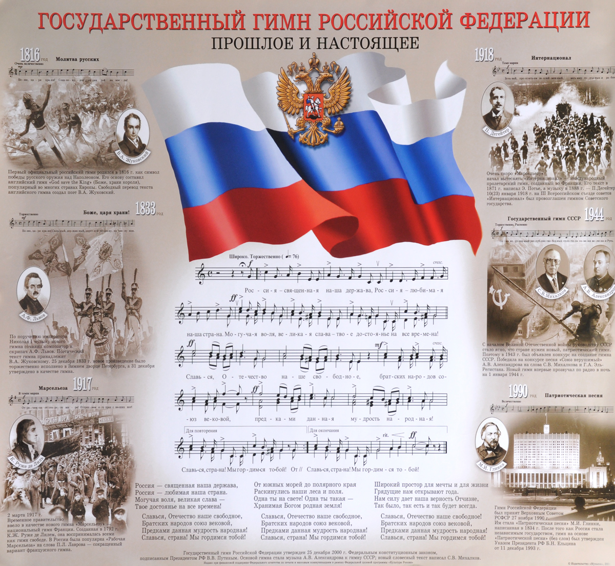 Государственный гимн Российской Федерации. Прошлое и настоящее. Плакат