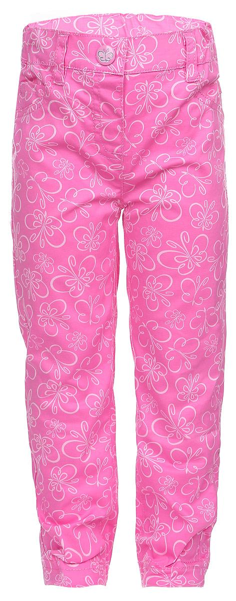 Брюки для девочки PlayToday Baby, цвет: розовый. 168053. Размер 74168053Стильные брюки для девочки PlayToday Baby идеально подойдут вашему маленькой принцессе и станут отличным дополнением к ее гардеробу. Изготовленные из эластичного хлопка, они приятные на ощупь, не сковывают движения и позволяют коже дышать, обеспечивая комфорт. Брюки прямого кроя на поясе застегиваются на металлическую кнопку и имеют шлевки для ремня. При необходимости пояс можно утянуть скрытой резинкой на пуговках. Сзади расположены два накладных кармана, спереди - маленький накладной кармашек. Изделие оформлено принтом с изображением бабочек по всей поверхности.Современный дизайн и расцветка делают эти брюки модным предметом детского гардероба. В них ваш ребенок всегда будет в центре внимания!