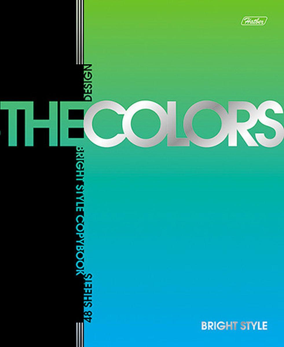Hatber Тетрадь The Colors 48 листов в клетку цвет зеленый голубой40016Тетрадь Hatber из серии The Colors отлично подойдет для занятий школьнику или студенту.Обложка, выполненная из плотного металлизированного картона, украшена изображением английских букв.Внутренний блок тетради, соединенный металлическими скрепками, состоит из 48 листов белой бумаги в голубую клетку с полями.