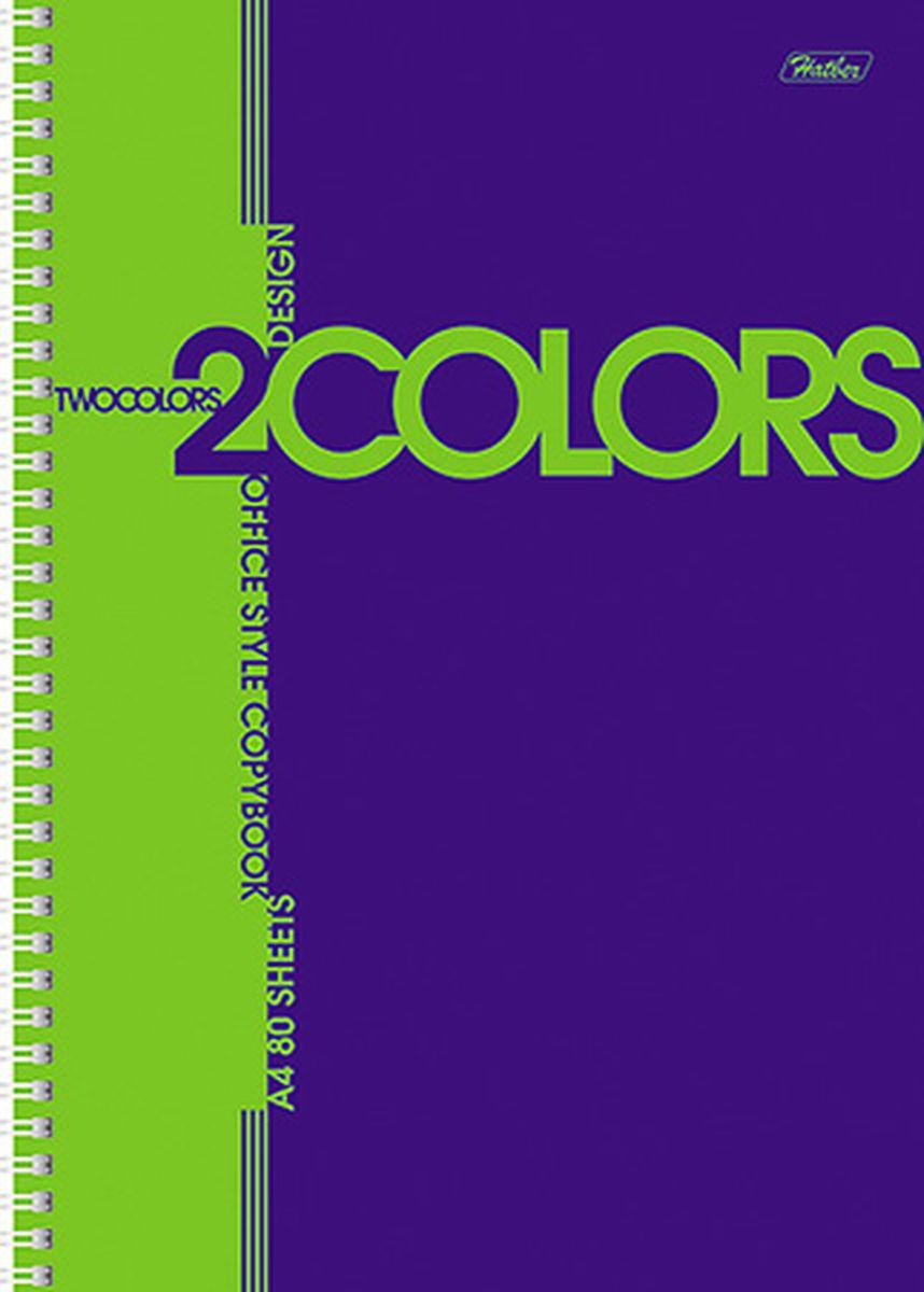 Hatber Тетрадь 2Colors 80 листов в клетку цвет синий салатовый80Т4В1грТетрадь Hatber 2Colors подойдет для школьников и студентов.Двухцветная обложка, выполненная из мелованного картона, позволит сохранить тетрадь ваккуратном состоянии на протяжении всего времени использования. Внутреннийблок тетради, соединенный посредством спирали, состоит из 80листов белой бумаги. Стандартная линовка в клетку. Особой изюминкой является наличие многоуровневой перфорации, что позволяет подшивать листы в папки.