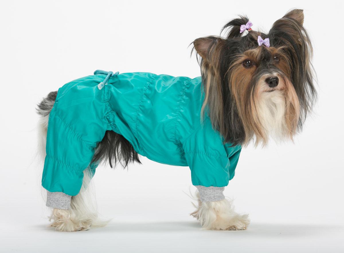 Комбинезон для собак Yoriki Демисезонный, унисекс, цвет: мятный. Размер S184-1Комбинезон для собак Yoriki Демисезонный отлично подойдет для прогулок в прохладную погоду осенью или весной. Верх комбинезона выполнен из водоотталкивающего полиэстера. Подкладка изготовлена из искусственного меха. Низ рукавов и брючин оснащен широкими стильными манжетами. Застегивается комбинезон на животе на кнопки и дополнительно на пояснице затягивается шнурком. Благодаря такому комбинезону вашему питомцу будет комфортно наслаждаться прогулкой.Обхват шеи: 20-24 см.Длина по спинке: 21 см.Объем груди: 29-36 см.Одежда для собак: нужна ли она и как её выбрать. Статья OZON Гид