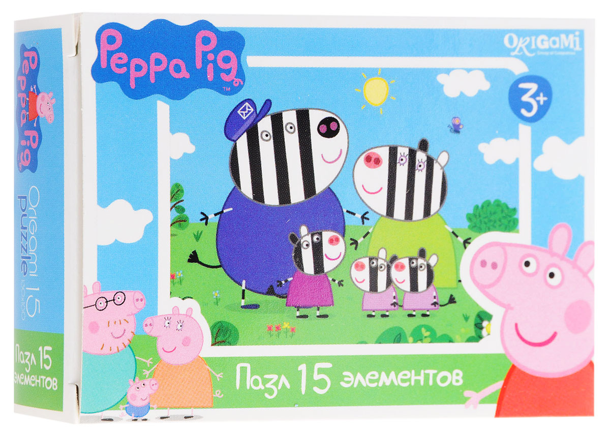Оригами Мини-пазл Peppa Pig Зебры 01593 origami пазл peppa pig семья кроликов 24 детали