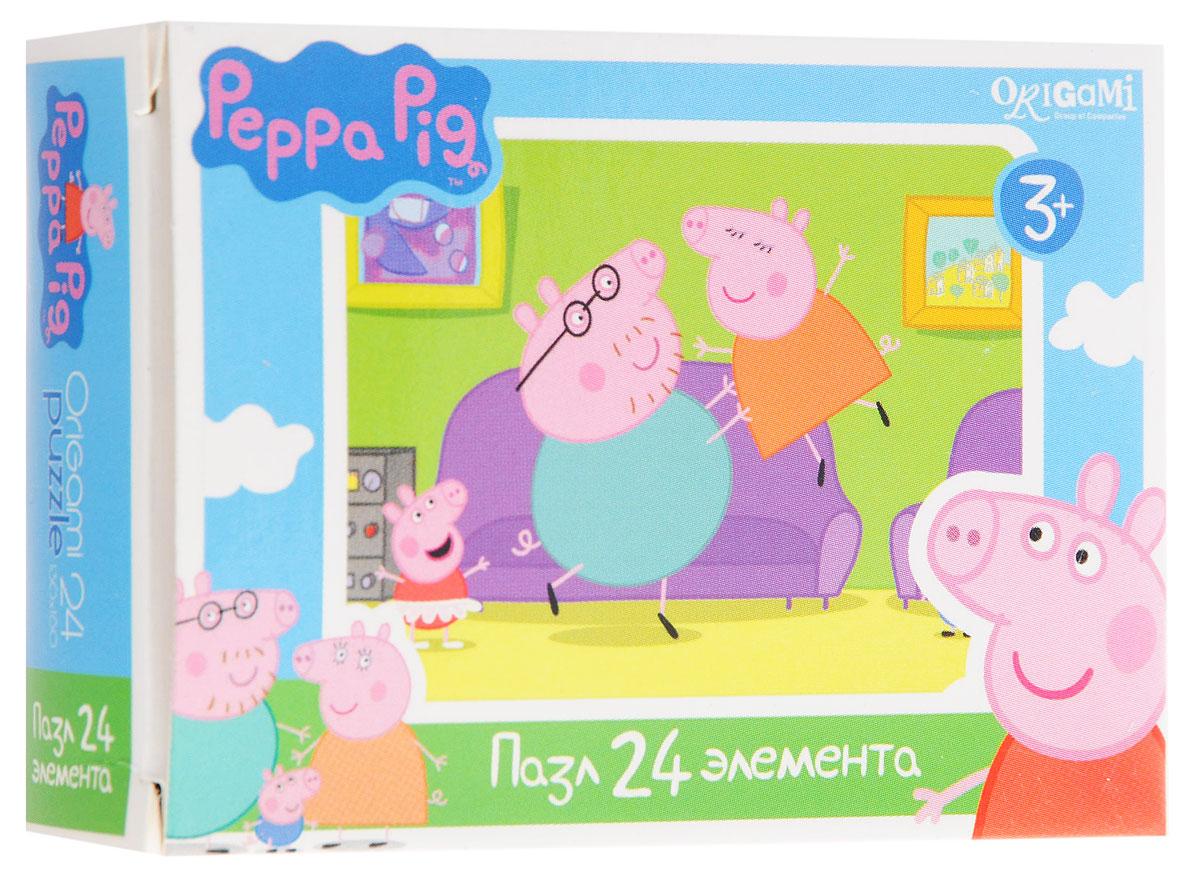 Оригами Мини-пазл Peppa Pig Игры у дивана 01594 пазл origami peppa pig транспорт 4 в 1