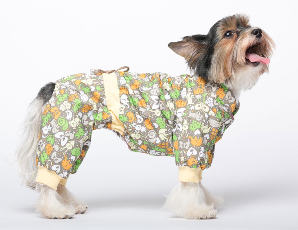 Комбинезон для собак Yoriki Звери, унисекс, цвет: серый, желтый. Размер S168-01Комбинезон для собак Yoriki Звери отлично подойдет для прогулок в прохладную погоду осенью или весной. Верх комбинезона выполнен из водоотталкивающего полиэстера. Подкладка изготовлена из мягкой вискозы. Низ рукавов и брючин оснащен широкими стильными манжетами. Застегивается комбинезон на животе на кнопки и дополнительно на пояснице затягивается шнурком. Благодаря такому комбинезону вашему питомцу будет комфортно наслаждаться прогулкой.Обхват шеи: 20-24 см.Длина по спинке: 21 см.Объем груди: 29-36 см.Одежда для собак: нужна ли она и как её выбрать. Статья OZON Гид