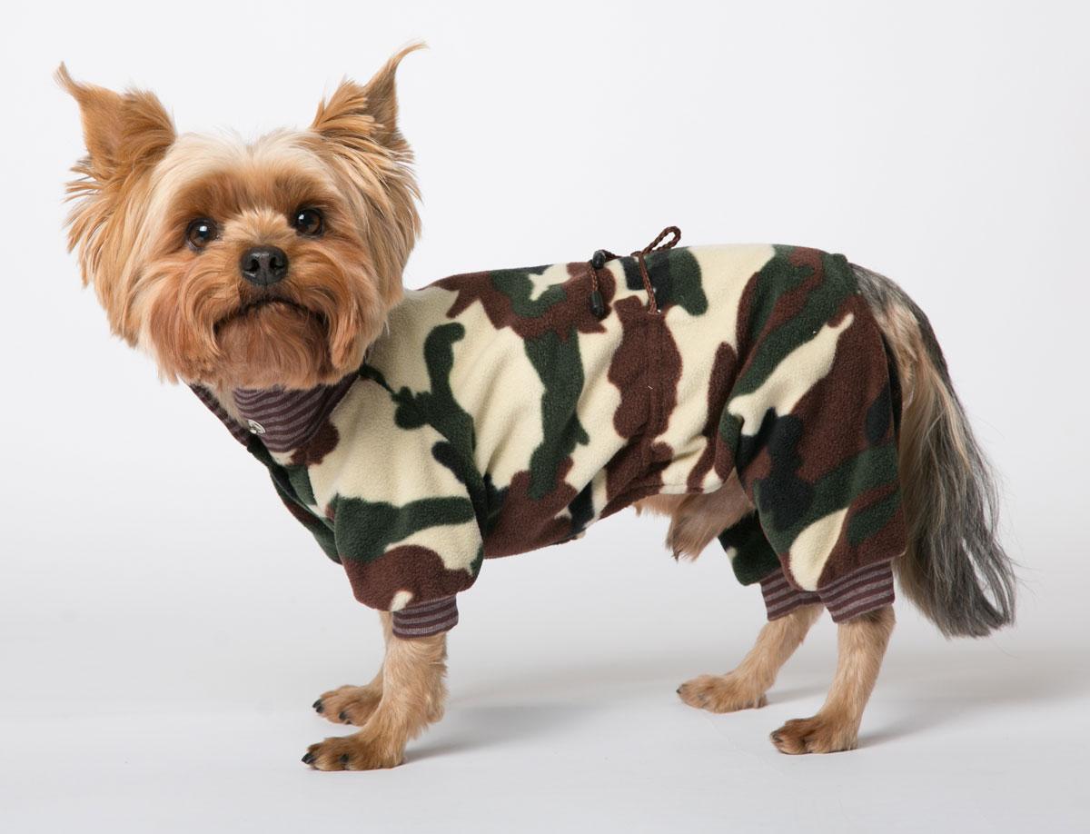 Комбинезон для собак Yoriki Кашемир, унисекс, цвет: зеленый, коричневый. Размер M208-02Комбинезон для собак Yoriki Кашемир отлично подойдет для прогулок в прохладную погоду осенью или весной. Верх комбинезона выполнен из флиса. Подкладка изготовлена из мягкой вискозы. Низ рукавов и брючин оснащен широкими стильными манжетами. Застегивается комбинезон на животе на кнопки и дополнительно на пояснице затягивается шнурком. Благодаря такому комбинезону вашему питомцу будет комфортно наслаждаться прогулкой.Обхват шеи: 23-28 см.Длина по спинке: 25 см.Объем груди: 35-42 см.Одежда для собак: нужна ли она и как её выбрать. Статья OZON Гид
