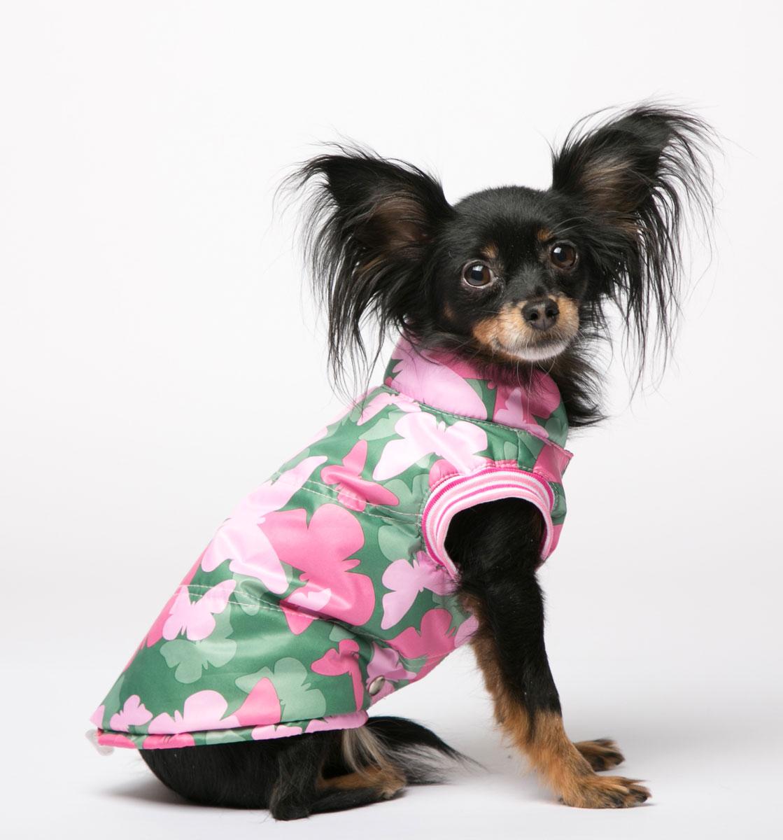 """Жилет для собак Yoriki """"Махаон"""", унисекс, цвет: розовый, зеленый. Размер S"""