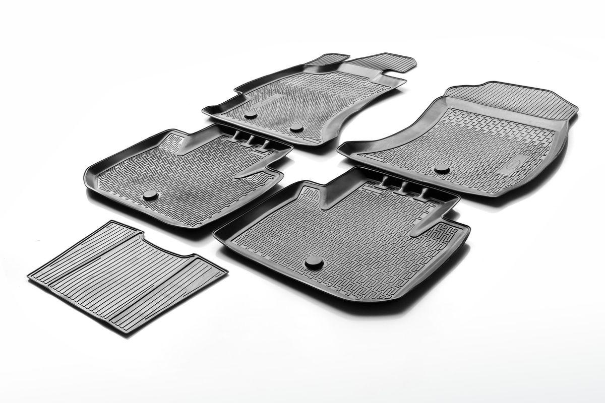 Коврики салона Rival для Hyundai Santa Fe 2012-, c перемычкой, полиуретан12306002Прочные и долговечные коврики Rival в салон автомобиля, изготовлены из высококачественного и экологичного сырья, полностью повторяют геометрию салона вашего автомобиля.- Надежная система крепления, позволяющая закрепить коврик на штатные элементы фиксации, в результате чего отсутствует эффект скольжения по салону автомобиля.- Высокая стойкость поверхности к стиранию.- Специализированный рисунок и высокий борт, препятствующие распространению грязи и жидкости по поверхности коврика.- Перемычка задних ковриков в комплекте предотвращает загрязнение тоннеля карданного вала.- Произведены из первичных материалов, в результате чего отсутствует неприятный запах в салоне автомобиля.- Высокая эластичность, можно беспрепятственно эксплуатировать при температуре от -45 ?C до +45 ?C.Уважаемые клиенты!Обращаем ваше внимание,что коврики имеет формусоответствующую модели данного автомобиля. Фото служит для визуального восприятия товара.