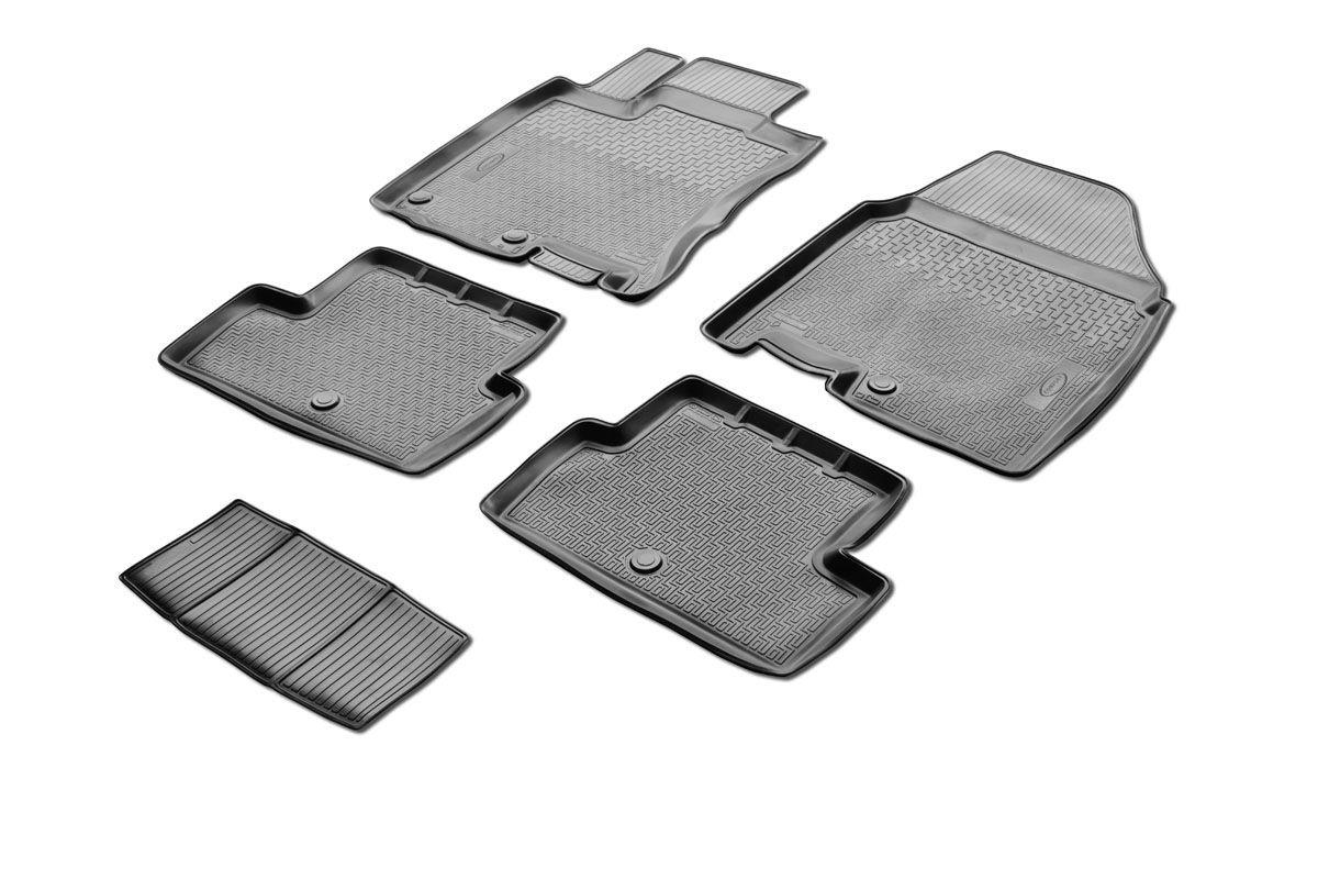 Коврики салона Rival для Nissan Qashqai 2007-2014, c перемычкой, полиуретан14105003Прочные и долговечные коврики Rival в салон автомобиля, изготовлены из высококачественного и экологичного сырья, полностью повторяют геометрию салона вашего автомобиля.- Надежная система крепления, позволяющая закрепить коврик на штатные элементы фиксации, в результате чего отсутствует эффект скольжения по салону автомобиля.- Высокая стойкость поверхности к стиранию.- Специализированный рисунок и высокий борт, препятствующие распространению грязи и жидкости по поверхности коврика.- Перемычка задних ковриков в комплекте предотвращает загрязнение тоннеля карданного вала.- Произведены из первичных материалов, в результате чего отсутствует неприятный запах в салоне автомобиля.- Высокая эластичность, можно беспрепятственно эксплуатировать при температуре от -45 ?C до +45 ?C.Уважаемые клиенты!Обращаем ваше внимание,что коврики имеет формусоответствующую модели данного автомобиля. Фото служит для визуального восприятия товара.