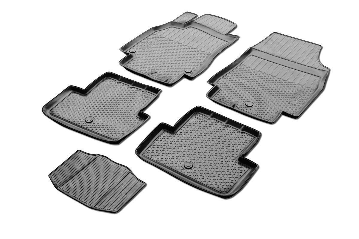 Коврики салона Rival для Renault Fluence 2010-, c перемычкой, полиуретан14704001Прочные и долговечные коврики Rival в салон автомобиля, изготовлены из высококачественного и экологичного сырья, полностью повторяют геометрию салона вашего автомобиля.- Надежная система крепления, позволяющая закрепить коврик на штатные элементы фиксации, в результате чего отсутствует эффект скольжения по салону автомобиля.- Высокая стойкость поверхности к стиранию.- Специализированный рисунок и высокий борт, препятствующие распространению грязи и жидкости по поверхности коврика.- Перемычка задних ковриков в комплекте предотвращает загрязнение тоннеля карданного вала.- Произведены из первичных материалов, в результате чего отсутствует неприятный запах в салоне автомобиля.- Высокая эластичность, можно беспрепятственно эксплуатировать при температуре от -45 ?C до +45 ?C.Уважаемые клиенты!Обращаем ваше внимание,что коврики имеет формусоответствующую модели данного автомобиля. Фото служит для визуального восприятия товара.