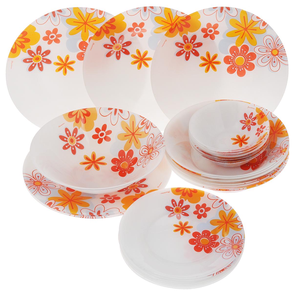 Набор столовой посуды Pasabahce Workshop Summer, 25 предметов95665BDСтоловый набор Pasabahce Workshop Summer состоит из шести суповых тарелок, шести десертных тарелок, шести обеденных тарелок и семи салатников. Предметы набора выполнены из натрий-кальций-силикатного стекла, благодаря чему посуда будет использоваться очень долго, при этом сохраняя свой внешний вид. Предметы набора имеют повышенную термостойкость. Набор создаст отличное настроение во время обеда, будет уместен на любой кухне и понравится каждой хозяйке. Красочное оформление предметов набора придает ему оригинальность и торжественность. Практичный и современный дизайн делает набор довольно простым и удобным в эксплуатации.Предметы набора можно мыть в посудомоечной машине.Диаметр суповой тарелки: 22 см.Высота стенок суповой тарелки: 5 см.Диаметр обеденной тарелки: 26 см.Высота обеденной тарелки: 2 см.Диаметр десертной тарелки: 20 см.Высота десертной тарелки: 1,5 см.Диаметр большого салатника: 23 см.Высота стенок большого салатника: 6,5 см.Диаметр малого салатника: 14 см.Высота стенок салатника: 4,5 см.