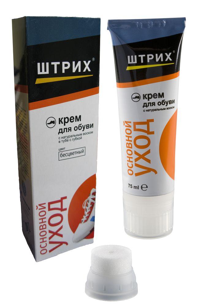 Крем для обуви с губкой-аппликатором Штрих Основной уход, цвет: прозрачный, 75 млт0001380Экспресс-крем с эффектом самоблеска. Благодаря высокому содержанию в составе восков и полимеров, крем не нуждается в дополнительном полировании, блеск появляется сам после впитывания крема в кожу. Удобная губка-аппликатор позволяет легко и равномерно нанести крем. Восковая пленка создает надежную защиту от влаги и грязи, предотвращает образование солевых разводов.