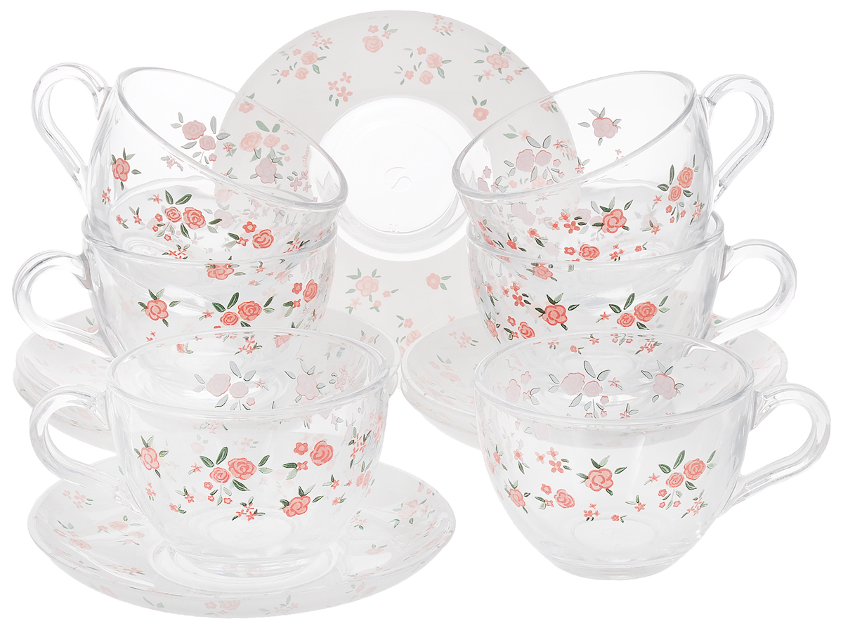 Набор чайный Pasabahce Provence, 12 предметов97948B/SЧайный набор Pasabahce Provence состоит из шести чашек и шести блюдец. Предметы набора изготовлены из прочного натрий-кальций-силикатного стекла и декорированы цветочным рисунком. Изящный чайный набор великолепно украсит стол к чаепитию и порадует вас и ваших гостей ярким дизайном и качеством исполнения.Можно использовать в холодильнике и мыть в посудомоечной машине.Диаметр чашки по верхнему краю: 8,5 см.Высота чашки: 6,5 см.Объем чашки: 215 мл.Диаметр блюдца: 13,5 см.Высота блюдца: 2 см.