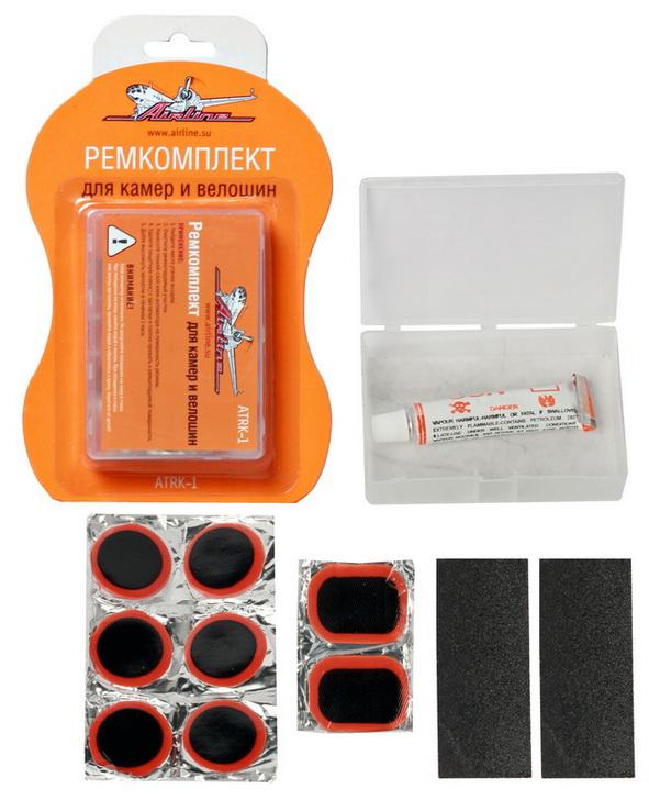 Ремкомплект Airline для камер и велошин, 12 предметовATRK-1Ремкомплект Airline предназначен для быстрого ремонта автомобильных и велосипедных камер и велошин. В набор входит:- заплатки круглые, 6 шт, - заплатки прямоугольные, 2 шт, - клей-активатор, - наждачная бумага, 2 шт, - пластиковый кейс для хранения комплекта.