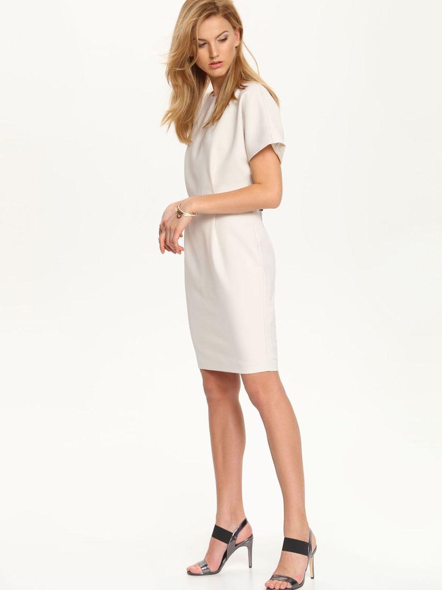 Платье Top Secret, цвет: бежевый. SSU1555BE[E]. Размер 36 (42)SSU1555BE[E]Элегантное платье Top Secret станет отличным дополнением к вашему гардеробу. Модель выполнена из высококачественного полиэстера. Платье-миди с круглым вырезом горловины и короткими цельнокроеными рукавами застегивается на скрытую застежку-молнию, расположенную на спинке.