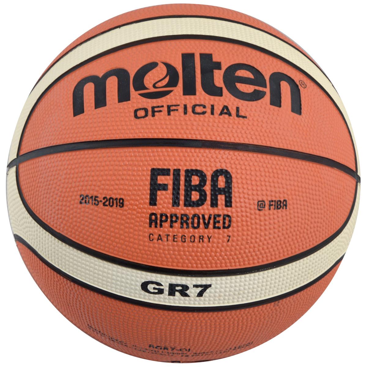 Мяч баскетбольный Molten. Размер 7. BGR7-OIBGR7-OIБаскетбольный мяч Molten отлично подходит для соревнований и тренировок профессионального уровня, обладает высокой прочностью, износостойкостью и игровыми характеристиками. Изготовлен из высококлассной композитной кожи. Шероховатая поверхность. 12-панельный дизайн. Предназначен для игры в зале. Одобрен FIBA. Окружность: 75 см.Материал камеры: резина.Материал покрышки: резина.