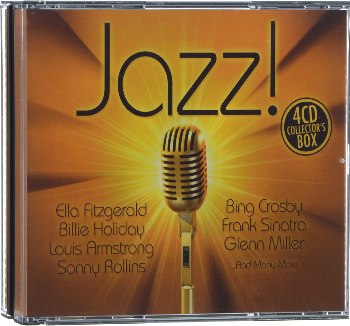 Бенни Гудман,The Glenn Miller Orchestra,The Count Basie Orchestra,Coleman Hawkins All Star Octet,Duke Ellington And His Orchestra,Les Brown And His Band Of Renown,Isham Jones And His Orchestra,Teddy Powell And His Orchestra,Harry James & His Orchestra,Woody Herman & His Orchestra,Джон Кангас,Элла Фитцжеральд,Билли Холидей,Бинг Кросби,Луис Джордан,Фрэнк Синатра,Луи Прима,Джин Келли,Джуди Гарланд,Кэб Кэллоуэй,Каунт Бэйси Jazz! (4 CD) футболка orchestra футболка
