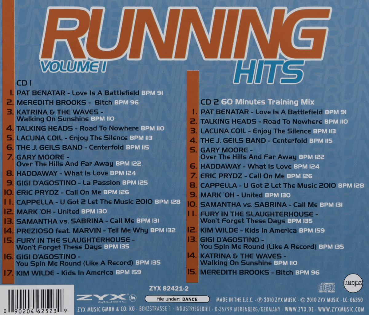 Running Hits.  Volume 1.  Feel The Beats (2 CD) ZYX Music,Волтэкс-инвест