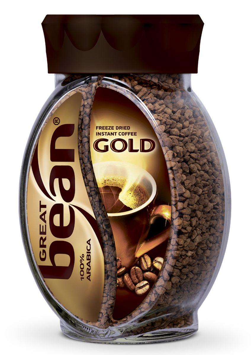 Great Bean Gold кофе растворимый, 100 г4630007982212Сублимированный кофе Great Bean Gold создан из отборных зерен арабики, выращенных на открытых солнцу холмах Южной Америки. Напиток имеет благородный вкус и аромат.