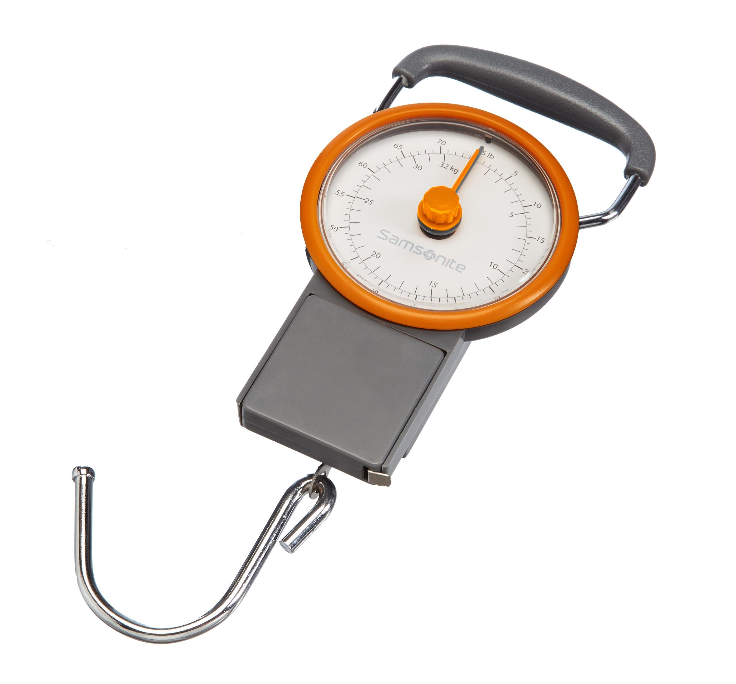 Весы багажные Samsonite, со встроенной рулеткойU23-28802Весы Samsonite, выполненные из поликарбоната, АБС-пластика и металла, предназначены для измерения веса багажа. Изделие оснащено эргономичной ручкой, а также 100-сантиметровой рулеткой для измерения габаритов багажаТакая вещь пригодится путешественникам, которые желают всегда держать под контролем вес своего багажа и не переплачивать за перевес.Максимальная нагрузка: 32 кг.Диаметр циферблата: 10 см.