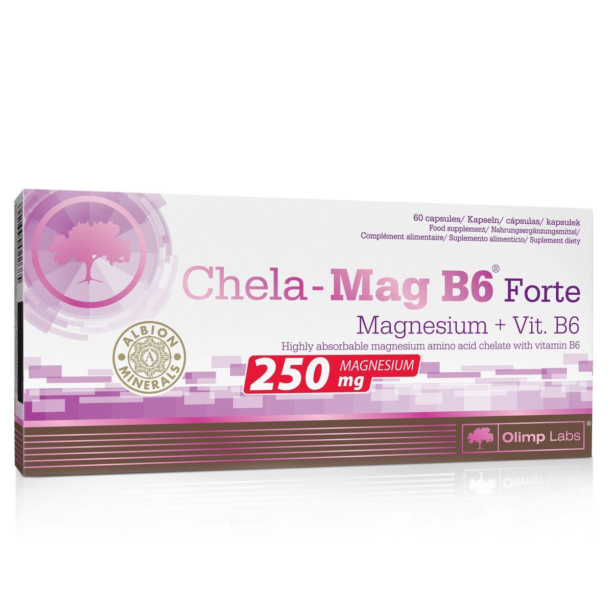 """Olimp Sport Nutrition """"Chela-Mag B6 Forte"""" - это препарат превосходного качества, восполняющий недостатки магния, награжденный золотой медалью ALBION. Это исключительный продукт, содержащий самую легко усвояемую форму магния: аминокислотный хелат (бис- глицинат магния) в увеличенной дозировке - 1390 мг хелата магния в одной капсуле. Дополнительно препарат обогащен витамином B6, который совместно с магнием принимает участие в метаболических процессах и усиливает действие. Olimp Sport Nutrition """"Chela-Mag B6 Forte"""" помогает удовлетворить потребность в магнии- элементе, необходимом при интенсивной силовой нагрузке, участвующем в энергетических процессах, пост- тренировочной регенерации, увеличивающим также сопротивляемость стрессу. Комплекс повышает адаптационные способности организма, обладает успокоительным действием, нормализует сон, не оказывая при этом снотворного эффекта.   Рекомендации по применению: принимайте 1 капсулу за 30-45 минут до сна.    Состав: магния bisglycinate (магний аминокислота хелат ALBION), мальтодекстрин, стеарат магния, Витамин B6, капсула-желатин.    Товар сертифицирован.    Как повысить эффективность тренировок с помощью спортивного питания? Статья OZON Гид"""