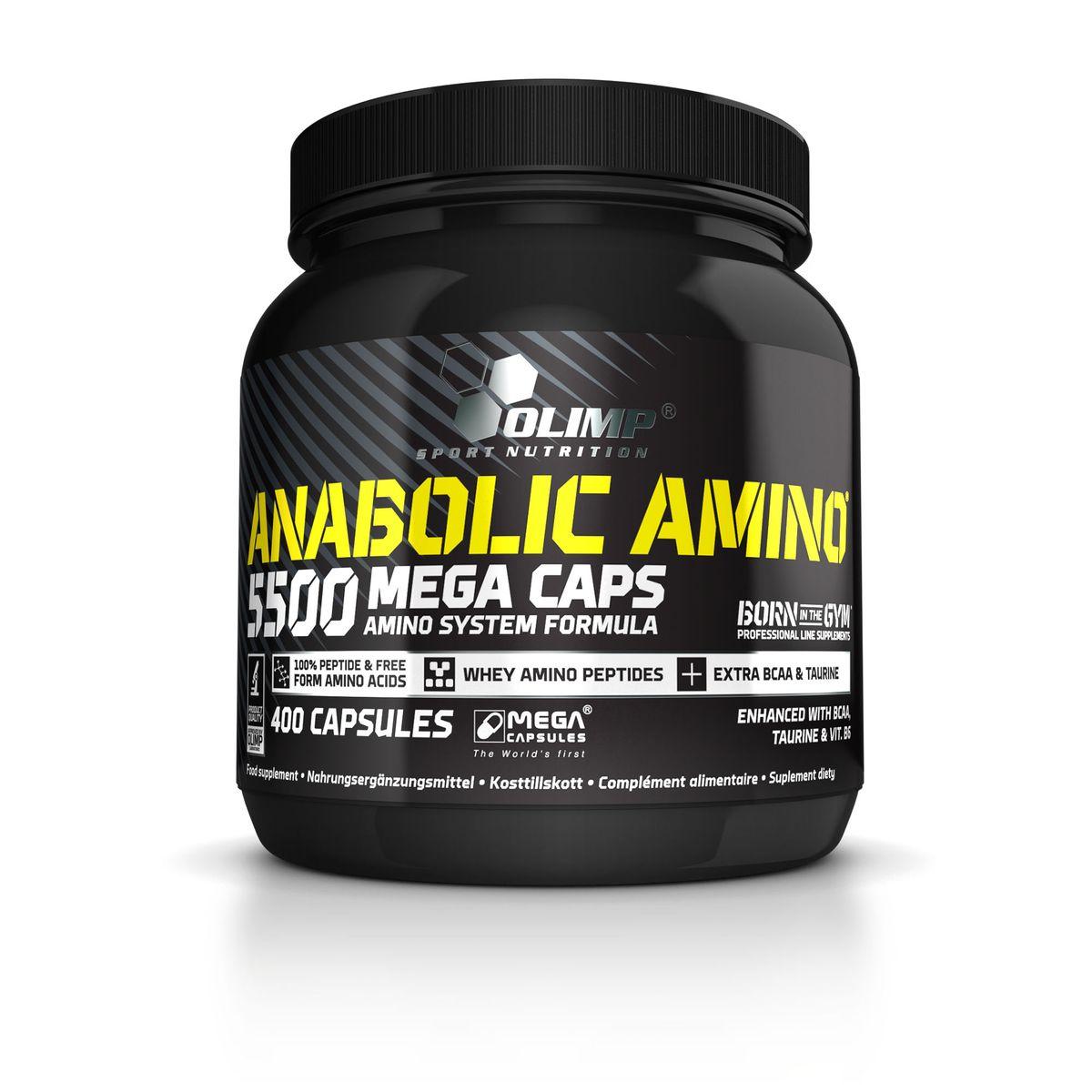 Аминокислоты Olimp Sport Nutrition Anabolic Amino 5500, 400 капсул4607062759189Olimp Sport Nutrition Anabolic Amino 5500 является препаратом, в состав которого входит комплекс пептидов и свободных аминокислот, необходимых для синтеза белка в мышечных клетках организма. Содержит дополнительный резерв разветвленных (BCAA) (Л-лейцин, Л-валин, Л-изолейцин) аминокислот, а также таурин. Разветвленные аминокислоты составляют около 35% мышечной ткани тела, и, следовательно, дополняют столь важную роль в поддержании баланса азота в организме. Витамин B6 является необходимым коэнзимом в метаболических реакциях изменений белков, жиров и углеводов. Рекомендации по применению: принимать 1 порцию (6 капсул) 2-3 раза в день. Состав: 83% гидролизат сывороточного белка, 14% аминокислоты с разветвлённой цепью (Л-лейцин, Л-валин, Л-изолейцин), 2,5% таурин, 0,02% витамин B6, микрокристаллическая целлюлоза, стеарат магния, желатин, краситель Е171. Товар сертифицирован.