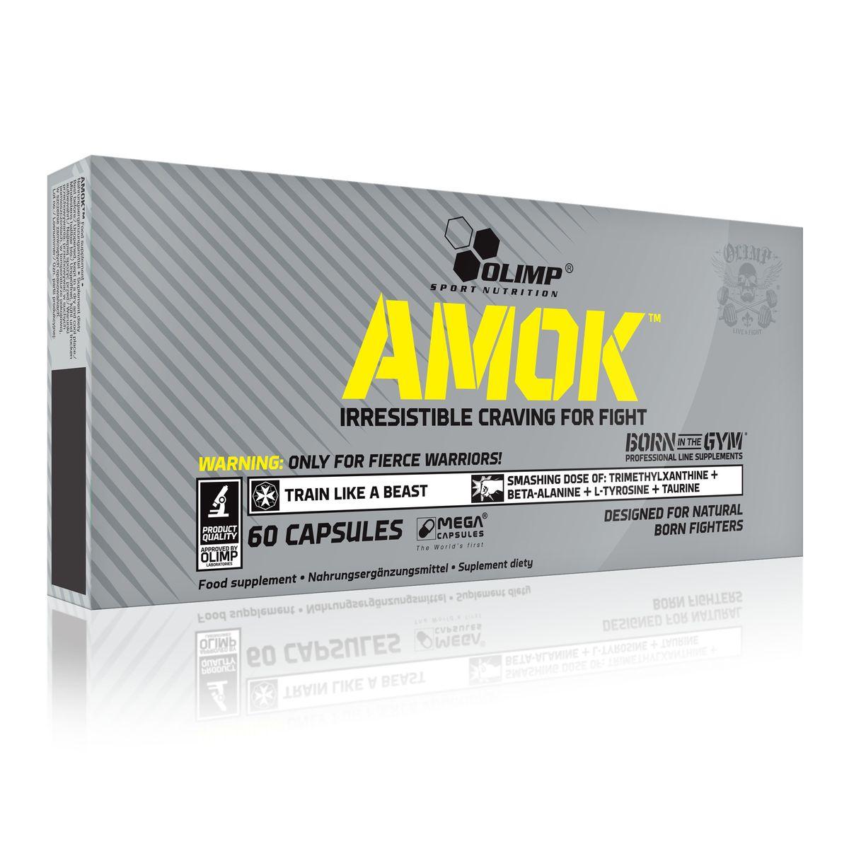Предтренировочный комплекс Olimp Sport Nutrition Amok, 60 капсулO33049Olimp Sport Nutrition Amok разработан специально для того, чтобы обеспечить вас экстремальной мотивацией и упрямством, пробивающимся сквозь ярость и разжигающим волну энергии, которая вырывается из вашего тела на протяжении всей тренировки. Это уникальная смесь точно подобранных количеств бета-аланина, L-тирозина и таурина, дополненная порцией 1,3,7-метилксантинов и женьшеня, чтобы дать энергию, буквально разрывающую на части. Это удивительное сочетание ингредиентов, входящих в состав средства, дополнено тщательно продуманной смесью витаминов и минералов, которые позволяют поддерживать стабильность энергетических процессов во время интенсивной физической нагрузки.Рекомендации по применению: начинать прием с 1 капсулы за 30-45 минут до тренировки. При хорошей переносимости доза может быть увеличена до 2 капсул.Состав: таурин, L-тирозин, Бета-аланин, кофеин безводный, экстракт гуараны, экстракт женьшеня обыкновенного корейского, магний , витамин B6, микрокристаллическая целлюлоза, стеарат магния, капсула (желатин, краситель E171). Товар сертифицирован.