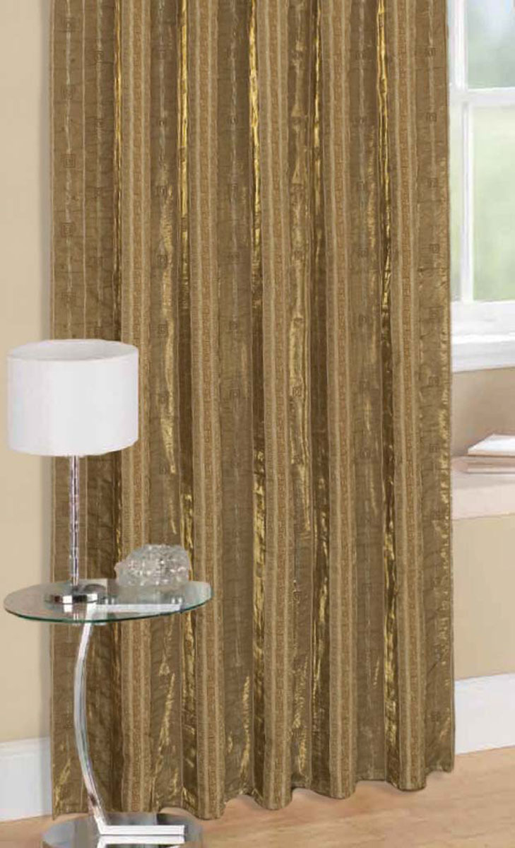Комплект штор Стиль, на ленте, цвет: золотой, высота 270 см78956Легкая портьерная ткань с блеском. Стирка не более 30 градусов.