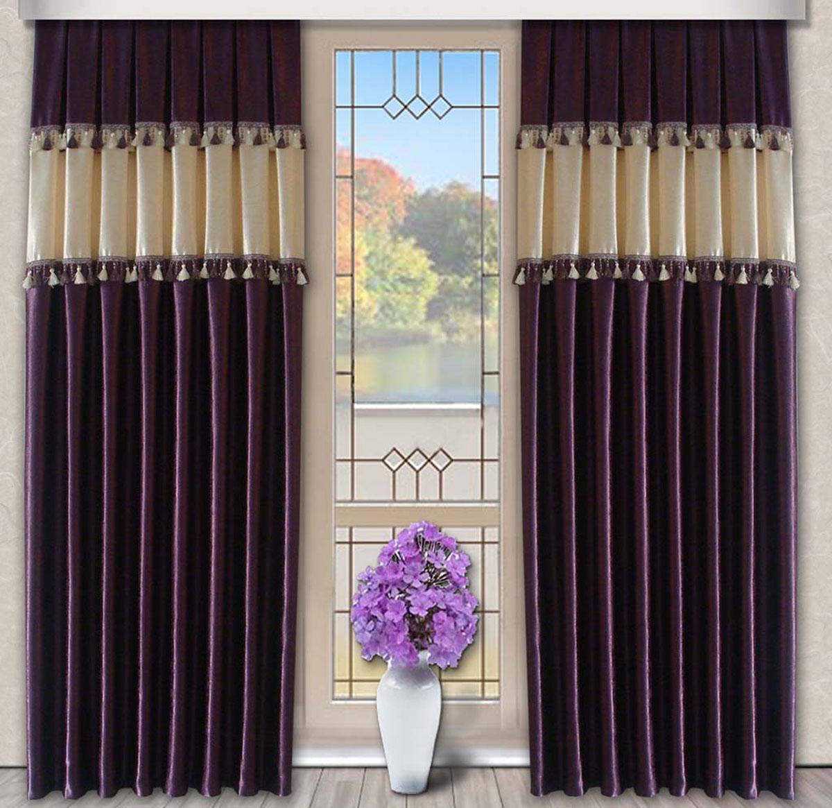 Комплект штор Винтаж, на ленте, цвет: лиловый, кремовый, высота 270 см79716Портьеры из плотной ткани украшенные бахромой. Стирка не более 30 градусов