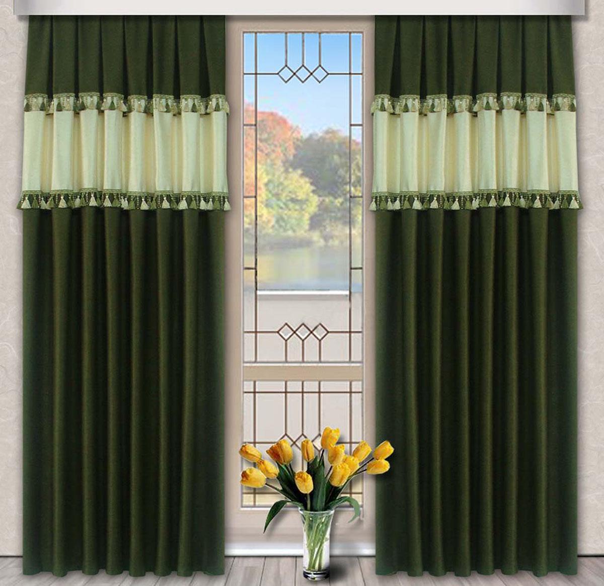 Комплект штор Винтаж, на ленте, цвет: зеленый, бежевый, высота 270 см79723Портьеры из плотной ткани украшенные бахромой. Стирка не более 30 градусов
