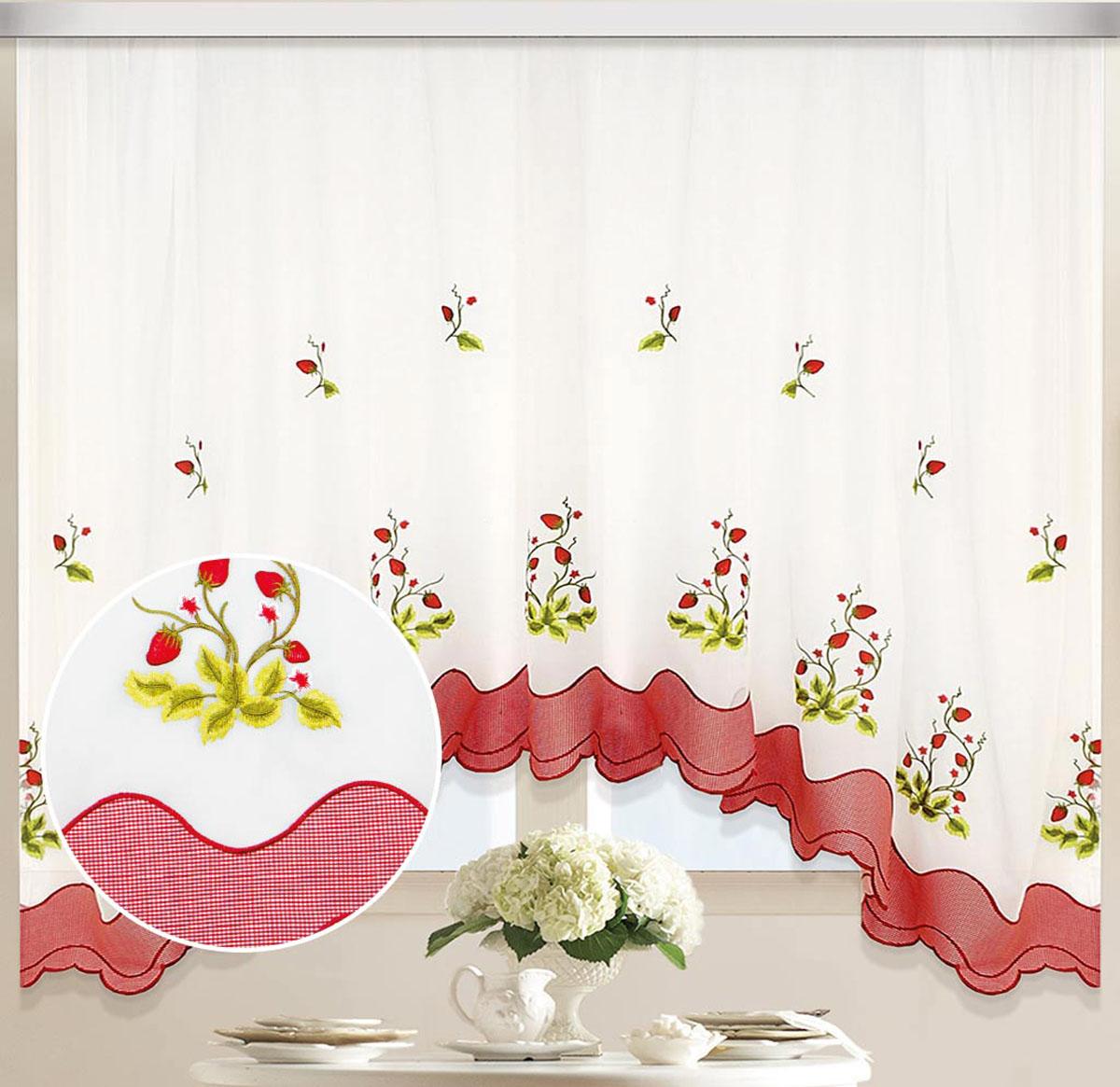 Штора-арка ТД Текстиль Земляничка, на ленте, цвет: белый, красный, высота 170 смС W1687 V79089Штора-арка ТД Текстиль Земляничка великолепно украсит любое окно. Штора выполнена из качественного вуалевого полотна (полиэстера) и украшена вышивкой.Полупрозрачная ткань, оригинальный дизайн и приятная цветовая гамма привлекут к себе внимание и позволят шторе органично вписаться в интерьер помещения.Штора крепится на карниз при помощи шторной ленты, которая поможет красиво и равномерно задрапировать верх. Изделие отлично подходит для кухни, столовой, спальни.
